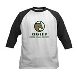 Circle F logo Kids Baseball tee in red, navy, blac