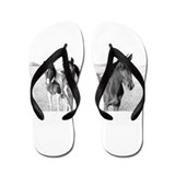 Ponies Jennifer Fox Art Flip Flops