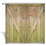 Rustic Barn Door Occupied Shower Curtain