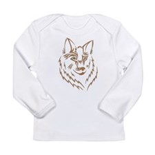 Brown Wolf Tribal Tattoo Long Sleeve Infant T-Shir