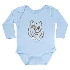 Brown Wolf Tribal Tattoo Long Sleeve Infant Bodysu