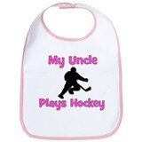 My Uncle Plays Hockey (in pink) Bib