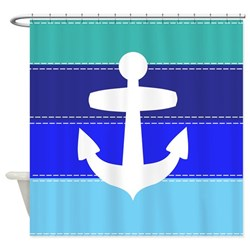 striped blue shower curtain with nautical anchor