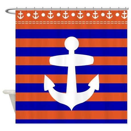 blue and red striped shower curtain with anchor