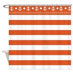 red and white striped shower curtain with anchor top border