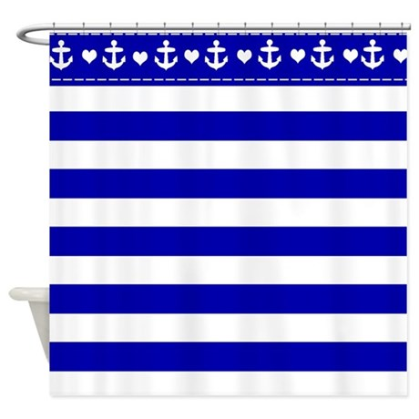 navy blue and white sailor stripe shower curtain