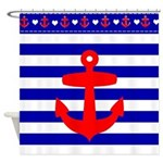 blue stripe and red anchor nautical shower curtain