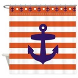 Red Sailor stripes and Blue Anchor Shower Curtain
