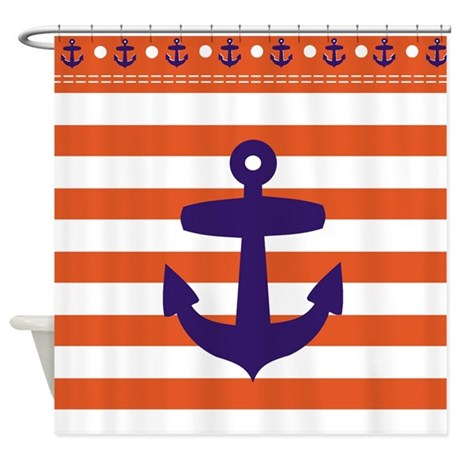 Red Sailor Stripes And Blue Anchor Shower Curtain By
