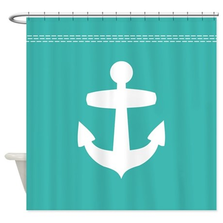 teal blue-green modern contemporary nautical shower curtain