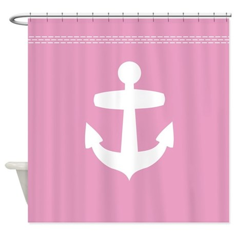 Nautical Pink bathroom decor: pink anchor shower curtains