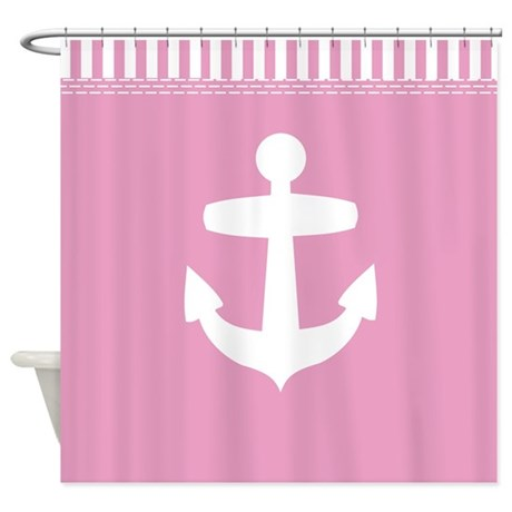 pink nautical shower curtain with anchor and pink and white sailor stripes edge