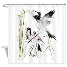Crane In Bamboo Trans.png Shower Curtain