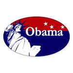 Obama Statue of Liberty USA Map Oval Sticker