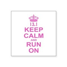 "run pink 13.1.png Square Sticker 3"" x 3"""