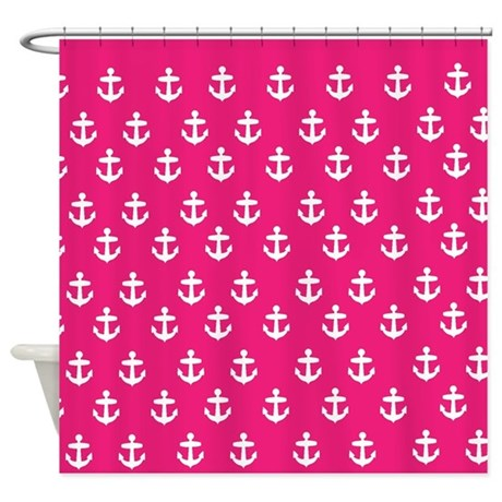 hot pink nautical theme shower curtains