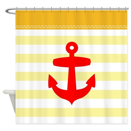 Yellow And Red Anchor Shower Curtain By Inspirationzstore