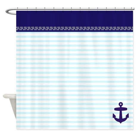 light blue stripes and anchor shower curtain