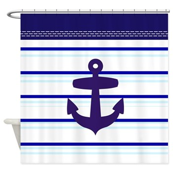 seaside beach sea themed blue stripe shower curtain