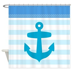 pale blue nautical stripe shower curtain with anchor design