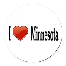 I Love Minnesota Round Car Magnet