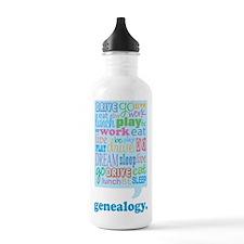 Eat Sleep Work Play Genealogy Water Bottle
