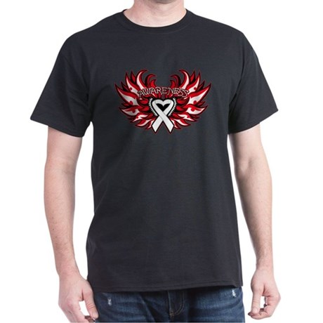Mesothelioma Heart Wings Dark T-Shirt