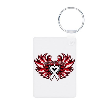 Mesothelioma Heart Wings Aluminum Photo Keychain