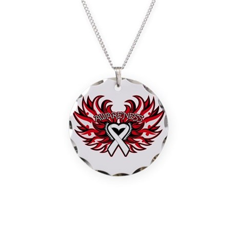 Mesothelioma Heart Wings Necklace Circle Charm