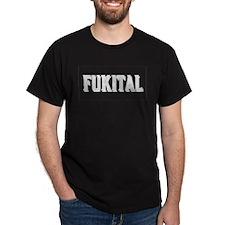FUKITAL WHITE SHADOWED TEXT DARK T-Shirt