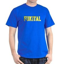 FUKITAL YELLOW SHADOWED TEXT DARK T-Shirt