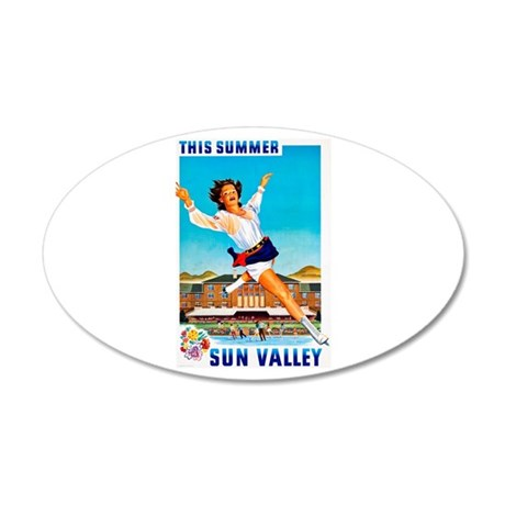 Sun Valley Travel Poster 1 35x21 Oval Wall Decal