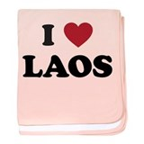 I Love Laos baby blanket