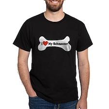 I Love My Schnauzer - Dog Bone T-Shirt