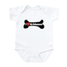 I Love My Schnauzer - Dog Bone Infant Bodysuit
