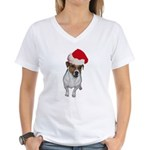 belle-santa.png Women's V-Neck T-Shirt