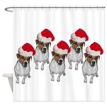 belle-santa-yardsign.png Shower Curtain