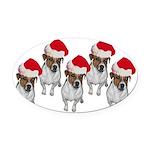 belle-santa-yardsign.png Oval Car Magnet