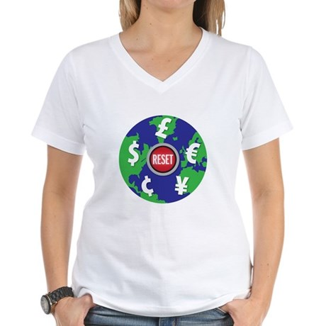 global economy reset Women's V-Neck T-Shirt