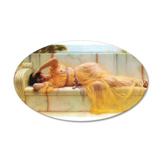 Godward - Girl in Yellow. 20x12 Oval Wall Decal