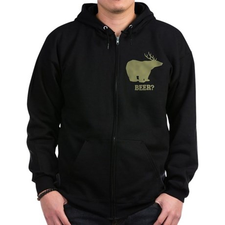 Beer Deer Bear Zip Dark Hoodie