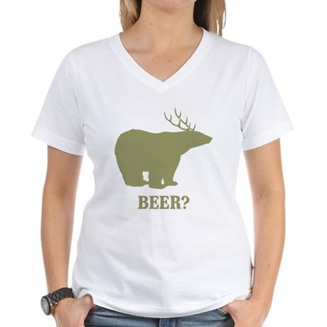 Beer Deer Bear Womens V-Neck T-Shirt