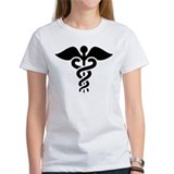 Black print Caduceus Tee