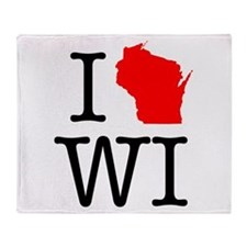 I Love WI Wisconsin Throw Blanket