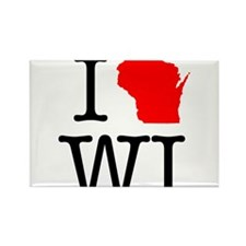 I Love WI Wisconsin Rectangle Magnet (100 pack)