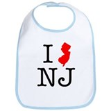 I Love NJ New Jersey Bib