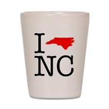 I Love NC North Carolina Shot Glass