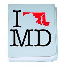 I Love MD Maryland baby blanket