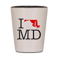 I Love MD Maryland Shot Glass