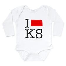 I Love KS Kansas Long Sleeve Infant Bodysuit